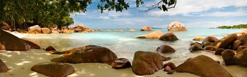 Panorama-Seychellen-Lagune Stockfotografie