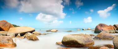 Panorama Seychelles lagoon sunlight beach sea horizontal background royalty free stock images