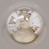 panorama sferico 3D 360 dell'interno del bagno Fotografia Stock