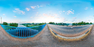 panorama sferico del fiume del ponte da 360 gradi Fotografia Stock
