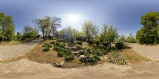 Panorama sferico del giardino alla collina di Bunardzhika a Filippopoli Immagini Stock Libere da Diritti