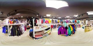 Panorama sferico dell'interno dei depositi 360 - 18 degli abiti sportivi Fotografie Stock Libere da Diritti