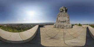 Panorama sferico della statua di Alyosha alla collina di Bunardzhika in Plov Immagine Stock Libera da Diritti