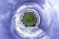 Panorama sferico di una centrale eolica Fotografia Stock Libera da Diritti