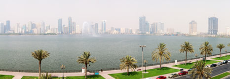 The panorama of Sharjah fountain and man-made lake Royalty Free Stock Photography