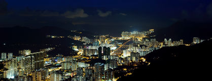 The panorama of Shatin night view Stock Photo