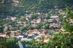 Panorama of Sheki city in the mountains, Azerbaijan Stock Photos