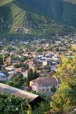 Panorama of Sheki city in the mountains, Azerbaijan Stock Images
