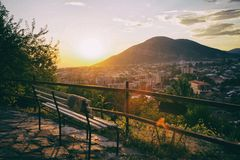 Panorama Sheki miasto w górach, Azerbejdżan Zdjęcie Royalty Free