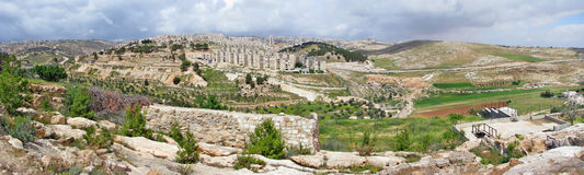 Panorama from Shepherd`s field, Beit Sahour Stock Photos