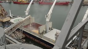 Panorama of ship loading grain crops on bulk freighter via trunk to open cargo holds at silo terminal in seaport. Cereals bulk transshipment to vessel stock footage