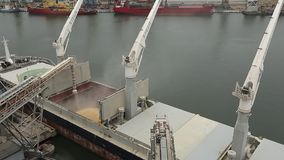 Panorama of ship loading grain crops on bulk freighter via trunk to open cargo holds at silo terminal in seaport. Cereals bulk transshipment to vessel stock video footage