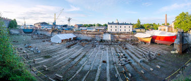 Panorama of shipyard with red ship, work material Stock Images