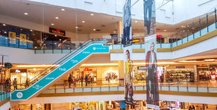 Panorama shopping mall in Vilnius. Panorama shopping mall interior in Vilnius, Lithuania Stock Image