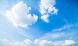 Blue sky and clouds in good weather days. Panorama shot of blue sky and clouds in good weather days stock photos