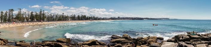 Panorama shot of entire Manly Beach and bay, Sydney Australia. Royalty Free Stock Images