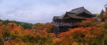 Panorama shot of Kiyomizu temple in autumn season Royalty Free Stock Photography