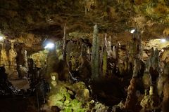 Panorama shot in limestone cave rock formations stock photo