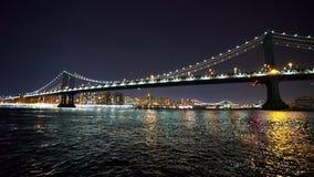Panorama shot of Manhattan Bridge by night  - videoclip Manhattan New York   APRIL 25,  2015. Panorama shot of Manhattan Bridge by night  - MANHATTAN, NEW YORK/ stock video