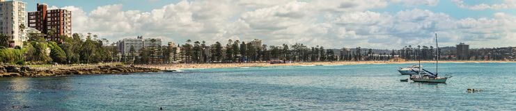Panorama shot of Manly Beach and bay, Sydney Australia. Royalty Free Stock Photo