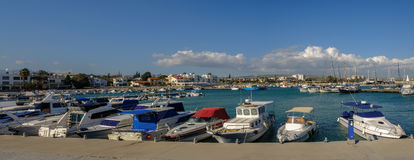 Panorama shot of the marina at Zygi, Cyprus Stock Image