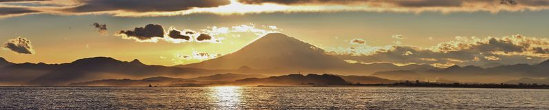 Panoramic shot of sunset over Mount Fuji, view fro Royalty Free Stock Images