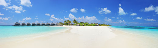 Panorama shot of a tropical islandl, Maldives on a sunny day royalty free stock photo