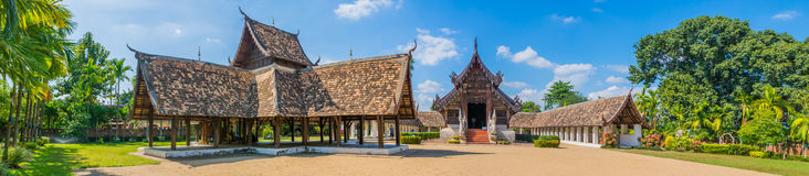 Panorama shot of Wat Ton Kain,in Chiang Mai Thailand. Panorama shot of Wat Ton Kain, Old temple made from wood in Chiang Mai Thailand Stock Photo