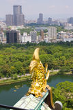 Panorama showing Osaka castle garden and Osaka Royalty Free Stock Photography
