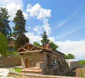 Panorama of Shuamta monastery in Alazani Valley Royalty Free Stock Photo