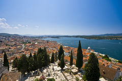 Panorama of Sibenik houses nad the blue channel Royalty Free Stock Image