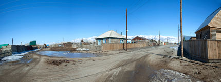 Panorama of the Siberian village Stock Photos