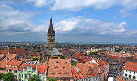 Sibiu Town in Romania. Aerial view of  Sibiu town in Transylvania Romania. Lutheran cathedral church clock tower Stock Image
