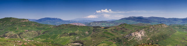 Panorama of the sicilian hillscape Stock Image