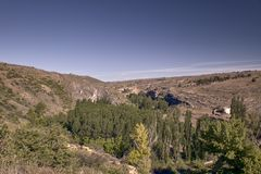Panoramic of the sickles of the Duraton River. Panorama of the sickles of the Duraton River on a sunny summer day stock images