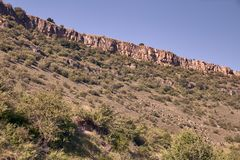 Panoramic of the sickles of the Duraton River. Panorama of the sickles of the Duraton River on a sunny summer day stock image