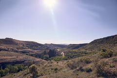 Panoramic of the sickles of the Duraton River. Panorama of the sickles of the Duraton River on a sunny summer day royalty free stock photos