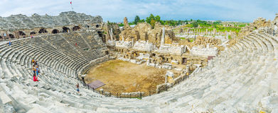 Panorama of Side Amphitheater Stock Photography