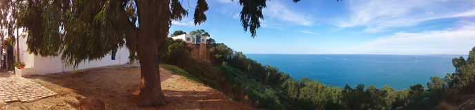 Panorama Sidi Bou Said do Seascape Foto de Stock Royalty Free