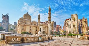 Sidi Yaqut al-Arshi mosque in Alexandria, Egypt. Panorama of Sidi Yaqut al-Arshi mosque with dense multistory buildings of residential neighborhood on background royalty free stock images