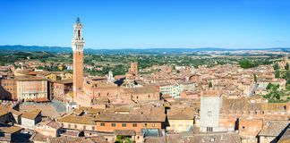 Panorama of Siena, aerial view with the Torre del Mangia Mangia Tower and Piazza del Campo Campo square , Tuscany Italy Stock Image