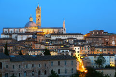 Panorama of Siena at dusk Royalty Free Stock Photography