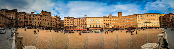 Panorama of the Siena square Stock Images