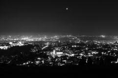 Panorama of Sierra Nevada and Granada, Spain as Seen from Sacromonte Hill at Night royalty free stock photo