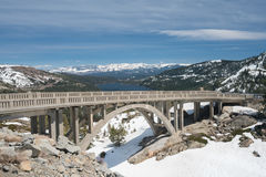 Panorama of Sierra Nevada mountains from Donner Pass Royalty Free Stock Image