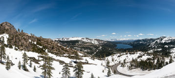 Panorama of Sierra Nevada mountains from Donner Pass Stock Photo