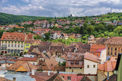 Panorama of Sighisoara old town royalty free stock photo