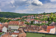Panorama of Sighisoara old town stock image