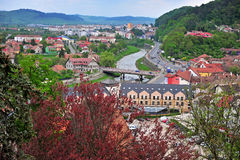 Panorama of Sighisoara old town, Transylvania, Romania Stock Photos