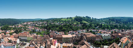 Panorama of Sighisoara. A panoramic view over the medieval town of Sighișoara in Transylvania, Romania Stock Image